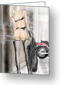 Babe Mixed Media Greeting Cards - Your Harley or mine Greeting Card by Bob Chartain