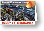 Ships Greeting Cards - Your Metal Saves Our Convoys Greeting Card by War Is Hell Store