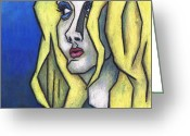 Looking Away Pastels Greeting Cards - Youre Beautiful Greeting Card by Kamil Swiatek