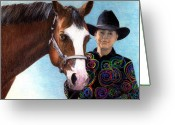 Bay Horse Greeting Card Greeting Cards - Youth Halter Horse Portrait Greeting Card by Olde Time  Mercantile