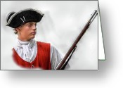 Frontier Art Greeting Cards - Youthful Soldier with Musket Greeting Card by Randy Steele