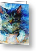 Feline Painting Greeting Cards - Youve Got A Friend Greeting Card by Paul Lovering