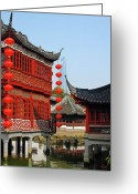 Far East Greeting Cards - Yu Gardens - A Classic Chinese garden in Shanghai Greeting Card by Christine Till