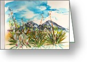 Spanish Peaks Greeting Cards - Yucca and Huajatolla Peaks Greeting Card by Joseph Mora