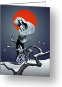 Concept Art Greeting Cards - Yuki Onna The Snow Spirit Greeting Card by Sean Seal