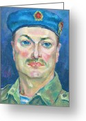 Officer In Uniform Greeting Cards - Yura Marochkin Greeting Card by Leonid Petrushin