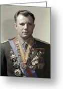 Officer In Uniform Greeting Cards - Yuri Gagarin, Soviet Cosmonaut Greeting Card by Ria Novosti