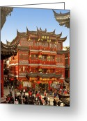 Red Building Greeting Cards - Yuyuan - A Bizarre Bazaar Greeting Card by Christine Till