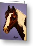 Wild Horses Greeting Cards - Zachariah Greeting Card by Adele Moscaritolo