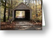 Indiana Autumn Greeting Cards - Zacke Cox Bridge Greeting Card by Jeff VanDyke