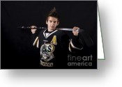 Minor Hockey Greeting Cards - Zak Greeting Card by Nicole  Cloutier Photographie Evolution Photography