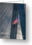 Patriotism Greeting Cards - Zakim bridge Boston Greeting Card by Elena Elisseeva