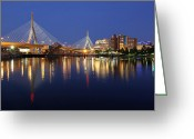 Paul Revere Greeting Cards - Zakim Bridge in Boston Greeting Card by Juergen Roth