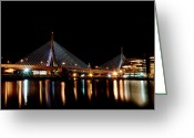 Charles River Digital Art Greeting Cards - Zakim over the Charles River Greeting Card by Richard Bramante