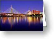 Twilight Greeting Cards - Zakim Twilight Greeting Card by Rick Berk
