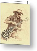 Celebrities Drawings Greeting Cards - Zakk Wylde Greeting Card by Kathleen Kelly Thompson