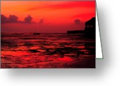 Abstract Landscapes Greeting Cards - Zanzibar Sunrise Greeting Card by Aidan Moran