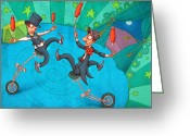 Tightrope Greeting Cards - Zanzzini Brothers Greeting Card by Autogiro Illustration