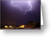 "\""lightning Strike\\\"" Greeting Cards - Zap Greeting Card by Shane Bechler"