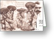 Zapata Greeting Cards - Zapata and Friends Greeting Card by Bill Olivas