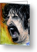 Guitar Pastels Greeting Cards - Zappa Greeting Card by Sam Hane