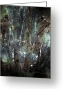 Fantasy Greeting Cards - Zauberwald Vollmondnacht Magic Forest Night of the Full Moon Greeting Card by Mimulux patricia no  