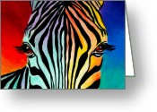 Colorful Greeting Cards - Zebra - End of the Rainbow Greeting Card by Alicia VanNoy Call