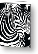 Contemporary Horse Digital Art Greeting Cards - zebra-01C Greeting Card by Eakaluk Pataratrivijit