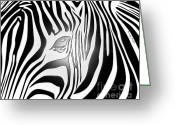 African Mountain Greeting Cards - Zebra 2 Greeting Card by Cheryl Young