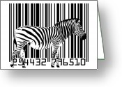 White Digital Art Greeting Cards - Zebra Barcode Greeting Card by Michael Tompsett