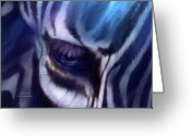 Animal Art Giclee Mixed Media Greeting Cards - Zebra Blue Greeting Card by Carol Cavalaris