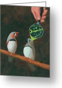 Illustration Greeting Cards - Zebra Finch Greeting Card by John Holdway