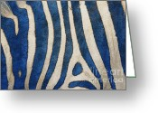 Postwork Greeting Cards - Zebra in Blue Greeting Card by Jutta Maria Pusl
