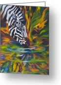 Contemporary Artist Greeting Cards - Zebra Greeting Card by Kd Neeley
