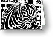 Learn To A Maze Greeting Cards - Zebra Maze Greeting Card by Yonatan Frimer Maze Artist