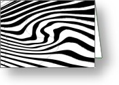 Lenght Greeting Cards - Zebra Pattern   Black and White Greeting Card by Mark Hendrickson