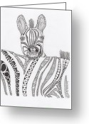 Paula Dickerhoff Greeting Cards - Zebra Greeting Card by Paula Dickerhoff