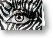 Womanly Greeting Cards - Zebra  Greeting Card by Yosi Cupano