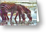 Travel Drawings Greeting Cards - Zebras Greeting Card by George Rossidis