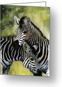 Giraffe Greeting Cards - Zebras Greeting Card by Roger Bonnick