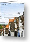 Tiles Greeting Cards - Zemun rooftops in Belgrade Greeting Card by Elena Elisseeva