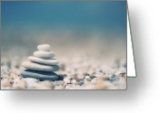Balance Greeting Cards - Zen Balanced Pebbles At Beach Greeting Card by Alexandre Fundone