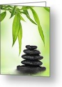 Bamboo Greeting Cards - Zen basalt stones and bamboo Greeting Card by Pics For Merch