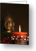 Asia Greeting Cards - Zen candle and buddha statue Greeting Card by Sandra Cunningham