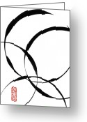 Brushstroke Greeting Cards - Zen Circles 2 Greeting Card by Hakon Soreide