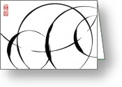 Sumi Greeting Cards - Zen Circles 3 Greeting Card by Hakon Soreide
