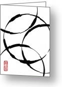 Brushstroke Greeting Cards - Zen Circles Greeting Card by Hakon Soreide
