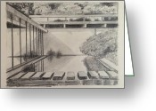 Residential Drawings Greeting Cards - Zen Garden Greeting Card by Sarah Parks