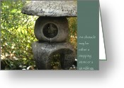 Zen Quotes Greeting Cards - Zen Garden with Quote Greeting Card by Heidi Hermes