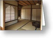 Shoji Screen Greeting Cards - ZEN MEDITATION ROOM and KATOMADO WINDOW - KYOTO JAPAN Greeting Card by Daniel Hagerman